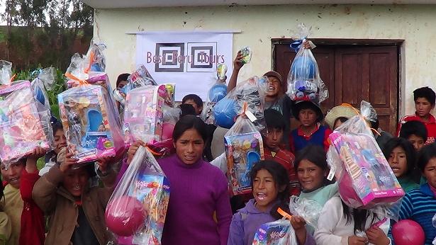 Peruvian Children with toys