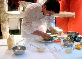 Peruvian chef preparing cuisine