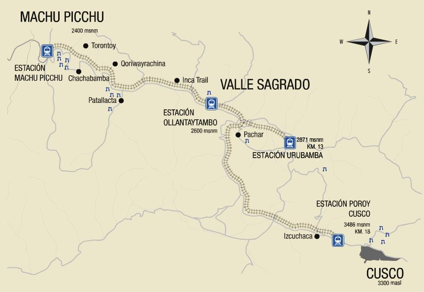 map of Machu Picchu, Valle Sagrado, and Cusco